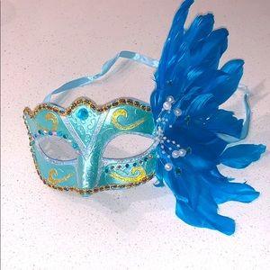 Custom Turquoise Masquerade Jewel Mask w/ Feathers
